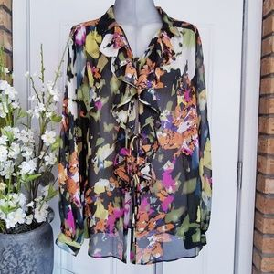 CAbi Floral Front Tie Ruffle Long Sleeve Blouse M